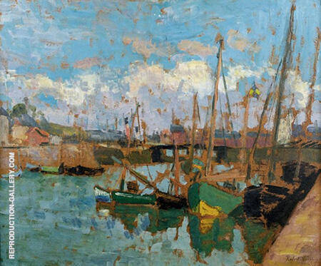 Boats at the Harbor By Robert Antoine Pinchon