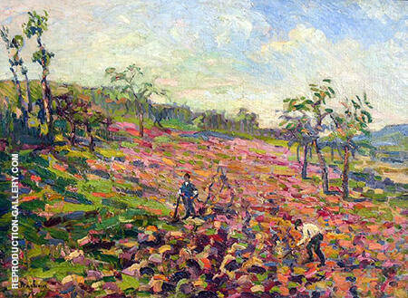 Working in the Field 1903 By Robert Antoine Pinchon - Oil Paintings & Art Reproductions - Reproduction Gallery
