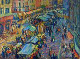 The Market at Pont Audemer By Robert Antoine Pinchon