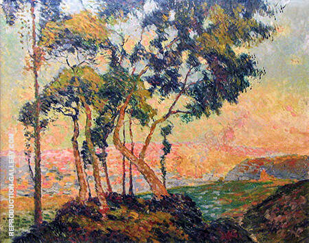 View of Mont-Gargan Setting Sun c1909 By Robert Antoine Pinchon