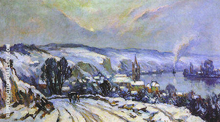 La Bouille Under Snow By Robert Antoine Pinchon