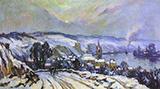 La Bouille Under Snow By Robert Antoine Pinchon