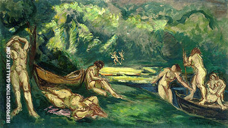 Bathers on the Banks of the River By Emile Othon Friesz - Oil Paintings & Art Reproductions - Reproduction Gallery