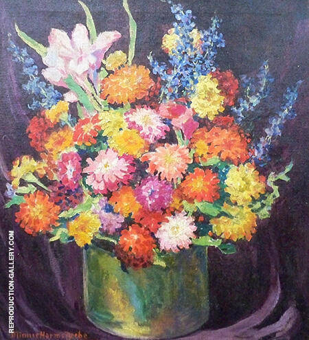 Still Life with Zinnias 1936 By Minnie Harms Neebe - Oil Paintings & Art Reproductions - Reproduction Gallery