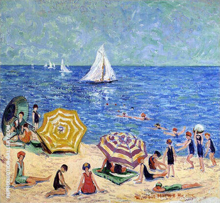 Oak Street Beach 1914 By Minnie Harms Neebe Replica Paintings on Canvas - Reproduction Gallery