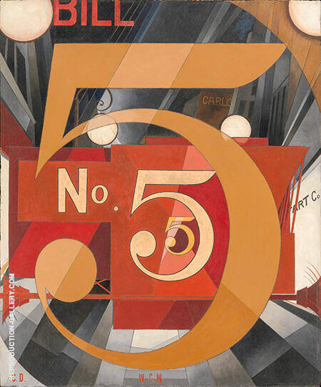 I Saw the Figure 5 in Gold Painting By Charles Demuth