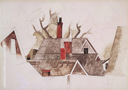 Red Chimneys 1918 By Charles Demuth - Oil Paintings & Art Reproductions - Reproduction Gallery