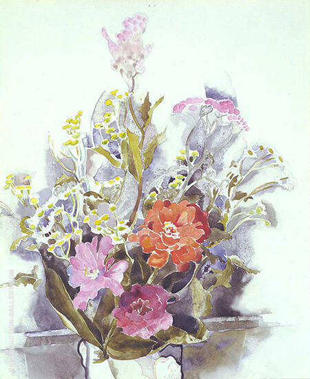 Zinnia Bouquet 1925 By Charles Demuth - Oil Paintings & Art Reproductions - Reproduction Gallery