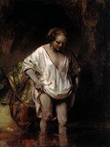 Hendrickje Bathing in a River 1654 By Rembrandt Van Rijn