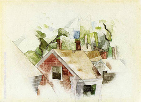 Rooftops By Charles Demuth - Oil Paintings & Art Reproductions - Reproduction Gallery