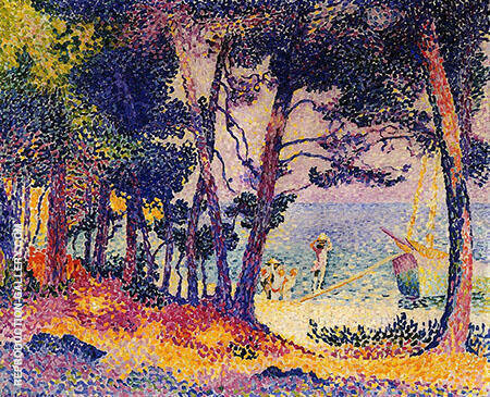 A Pine Wood Provence By Henri Edmond Cross - Oil Paintings & Art Reproductions - Reproduction Gallery
