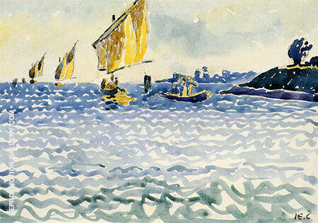 Boats By Henri Edmond Cross - Oil Paintings & Art Reproductions - Reproduction Gallery