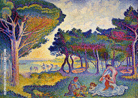 By The Mediterranean 1895 By Henri Edmond Cross - Oil Paintings & Art Reproductions - Reproduction Gallery