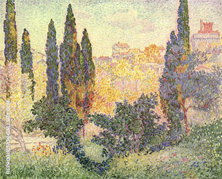Cypresses at Cagnes 1908 By Henri Edmond Cross - Oil Paintings & Art Reproductions - Reproduction Gallery