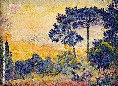 Provence Landscape By Henri Edmond Cross - Oil Paintings & Art Reproductions - Reproduction Gallery