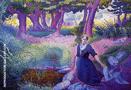 The Washerwoman By Henri Edmond Cross - Oil Paintings & Art Reproductions - Reproduction Gallery
