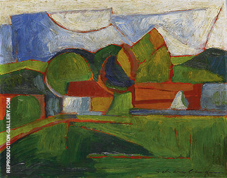 Abstract Landscape c1910-13 Painting By Morton Livingston Schamberg