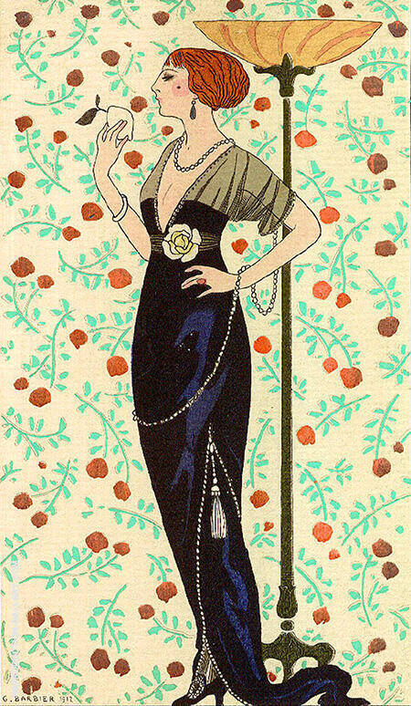 Robe du Soir Satin Noir et Tulle 1913 By George Barbier