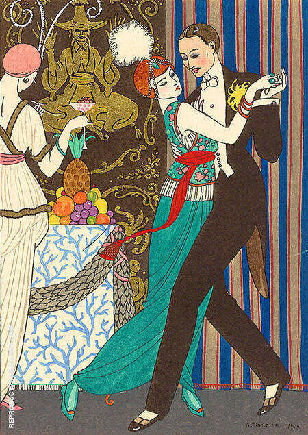 La Danse 1914 By George Barbier - Oil Paintings & Art Reproductions - Reproduction Gallery