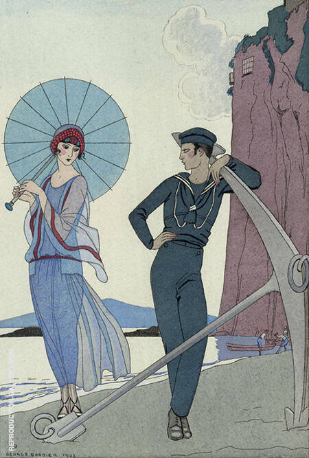 Romance Sans Paroles 1922 By George Barbier - Oil Paintings & Art Reproductions - Reproduction Gallery