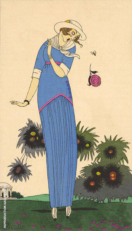 Costumes Parisiens Petite robe de Jardin 1913 By George Barbier - Oil Paintings & Art Reproductions - Reproduction Gallery