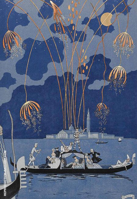 Fireworks in Venice for Fetes Galantes By George Barbier