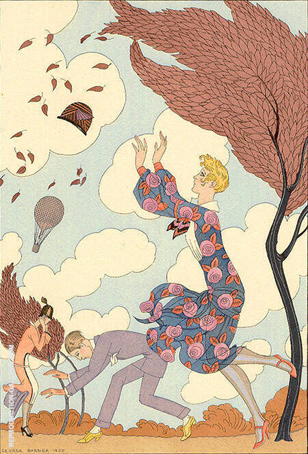 L'Air 1925 By George Barbier - Oil Paintings & Art Reproductions - Reproduction Gallery