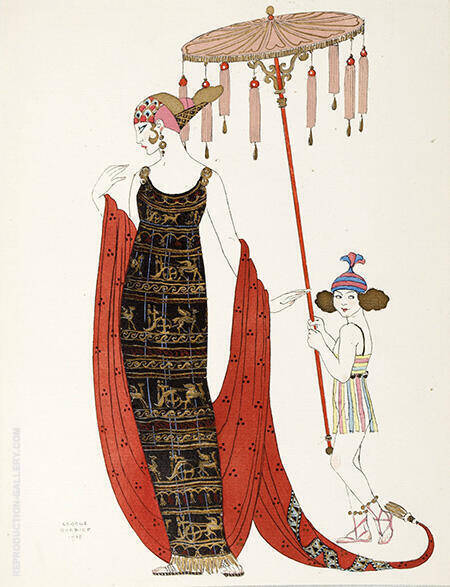 Reproduction of Ilustrando La Moda 1918 by George Barbier | Oil Painting Replica On CanvasReproduction Gallery