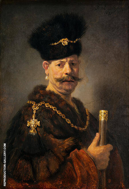 A Polish Nobleman 1637 By Rembrandt Van Rijn - Oil Paintings & Art Reproductions - Reproduction Gallery
