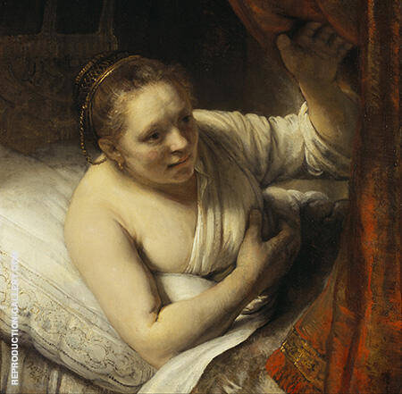 A Woman Waiting in Bed 1644 Painting By Rembrandt Van Rijn