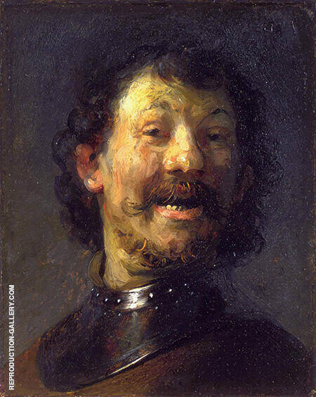 Bust of a Laughing Man in a Gorget 1630 By Rembrandt Van Rijn - Oil Paintings & Art Reproductions - Reproduction Gallery