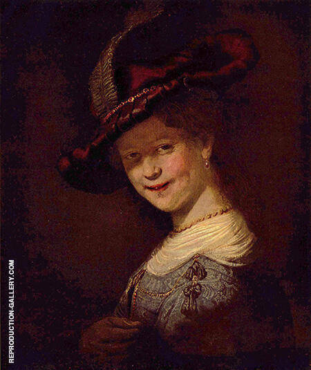 Bust of a Young Woman Smiling 1633 Painting By Rembrandt Van Rijn