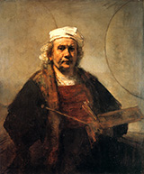 Self Portrait with Two Circles 1665 By Rembrandt Van Rijn