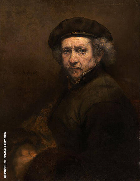 Reproduction of Self Portrait with Beret and Turned Up Collar 1659 by Rembrandt Van Rijn | Oil Painting Replica On CanvasReproduction Gallery