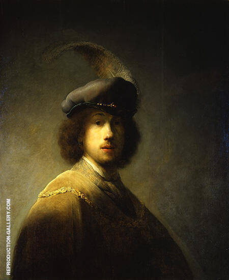 Self Portrait with Plumed Beret 1629 By Rembrandt Van Rijn