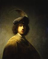 Self Portrait with Plumed Beret 1629 By Rembrandt Van Rijn