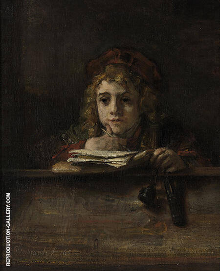 Titus at His Desk 1655 By Rembrandt Van Rijn - Oil Paintings & Art Reproductions - Reproduction Gallery