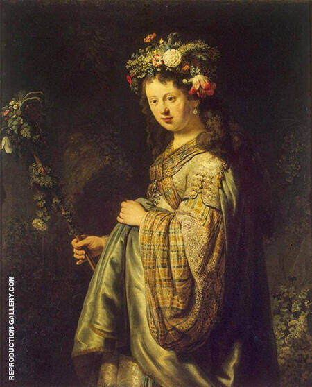 Saskia as Flora 1634 By Rembrandt Van Rijn - Oil Paintings & Art Reproductions - Reproduction Gallery
