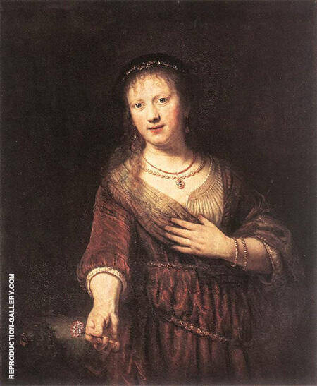 Saskia with a Red Flower 1641 By Rembrandt Van Rijn Replica Paintings on Canvas - Reproduction Gallery