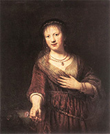 Saskia with a Red Flower 1641 By Rembrandt Van Rijn