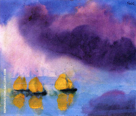 Sea with Violet Clouds and Three Yellow Boats By Emil Nolde