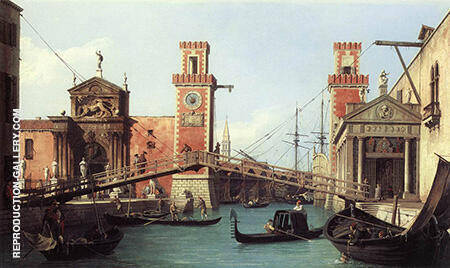 View of the Entrance to the Venetian Arsenal 1732 By Canaletto