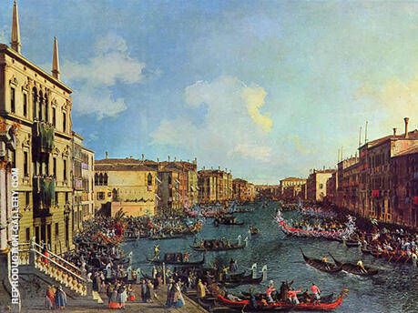 The Regatta seen from Ca Foscari 1727 By Canaletto