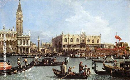 Return of the Bucentoro to the Molo on Ascension Day c1732 By Canaletto - Oil Paintings & Art Reproductions - Reproduction Gallery