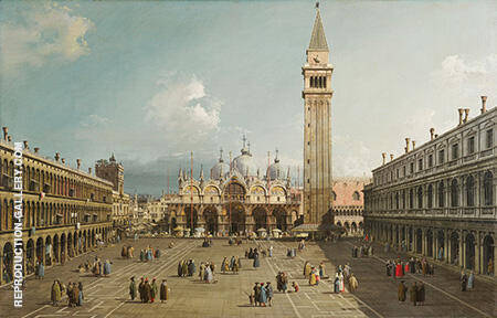 Piazza San Marco with the Basilica 1730 By Canaletto Replica Paintings on Canvas - Reproduction Gallery
