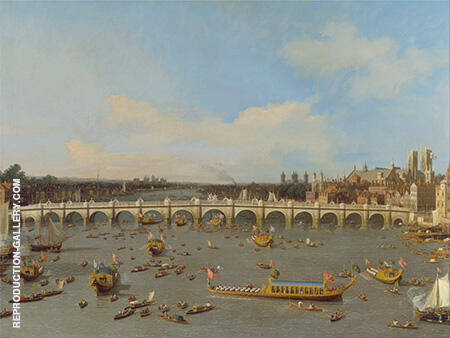 Westminster Bridge with the Lord Mayor's Procession on the Thames 1747 By Canaletto