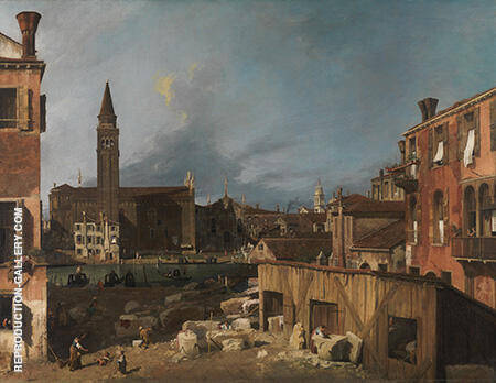 The Stonemason's Yard c1725 By Canaletto