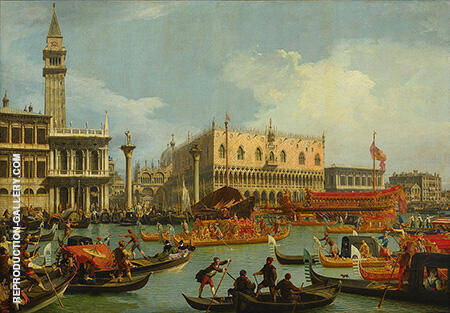 Bucentaur's return to the pier by the Palazzo Ducale c1728 By Canaletto - Oil Paintings & Art Reproductions - Reproduction Gallery