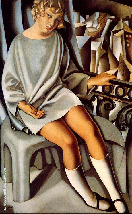 Kizette on Balcony 1927 By Tamara de Lempicka