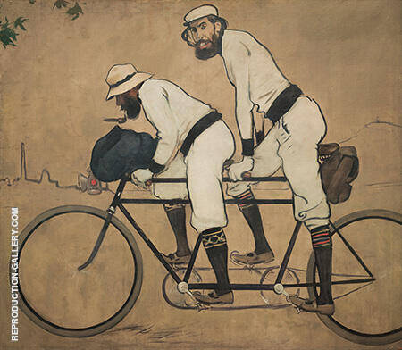 Ramon Casas and Pere Romeu on a Tandem c1897 By Ramon Casas - Oil Paintings & Art Reproductions - Reproduction Gallery